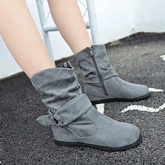 b1eaf401d7620 Longra☛☛❤❤Ajustado para Mujeres con Estilo Botines Planos de Mujer de Estilo  Vintage Zapatos Suaves y Ajustados Botines de pies Botas Medianas  ...