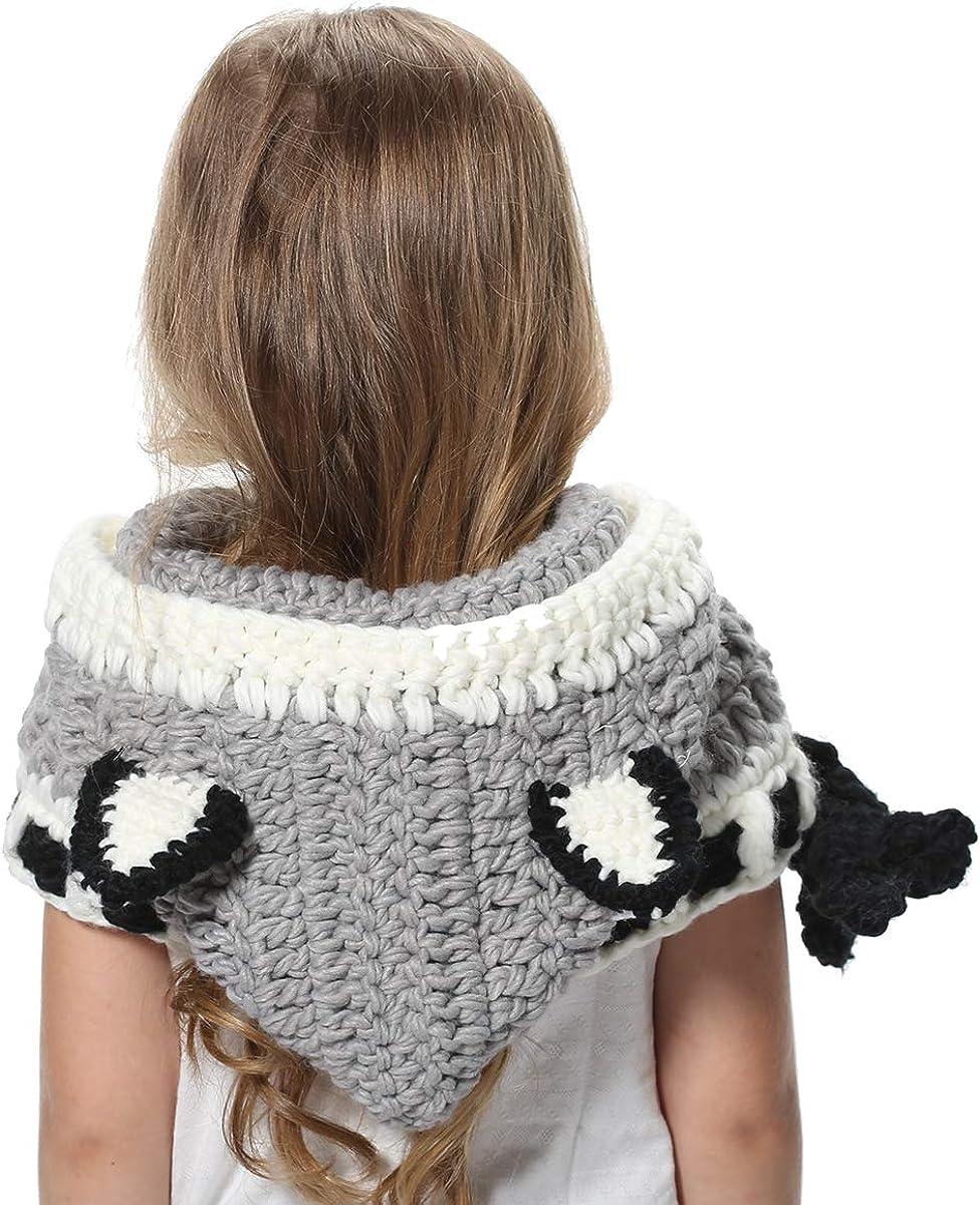 SENSERISE Winter Kids Warm Animal Hats Knitted Hood Scarf Beanies