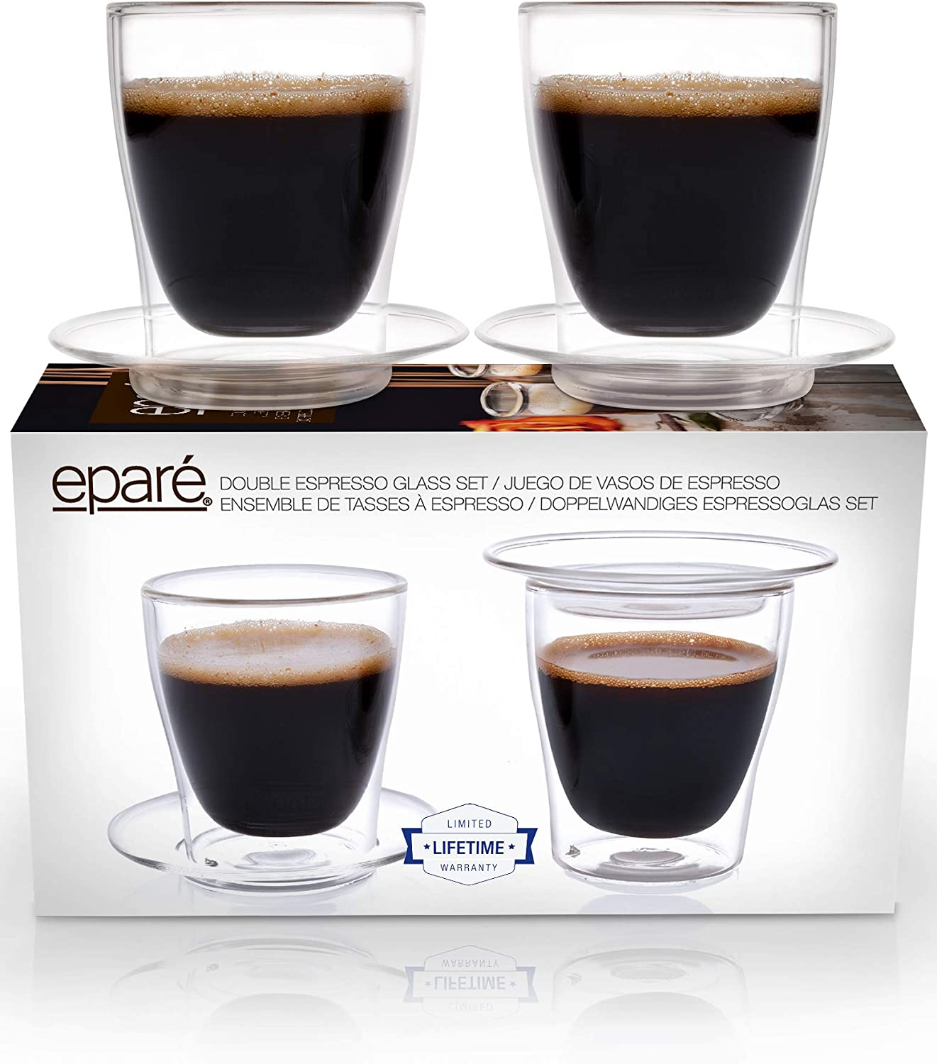 2 oz Espresso Glasses Set of 4 Single Shot Cup Double Wall Italian Demitasse Cups Clear Insulated Cappuccino or Cafe Mug with Handle by Eparé