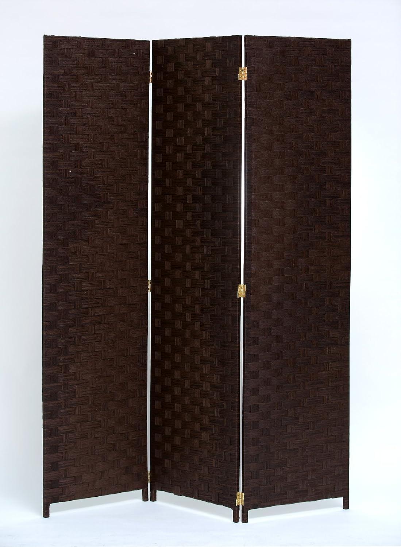 Legacy Decor Room Divider 3 Panel Weave Design Fiber Beige Color