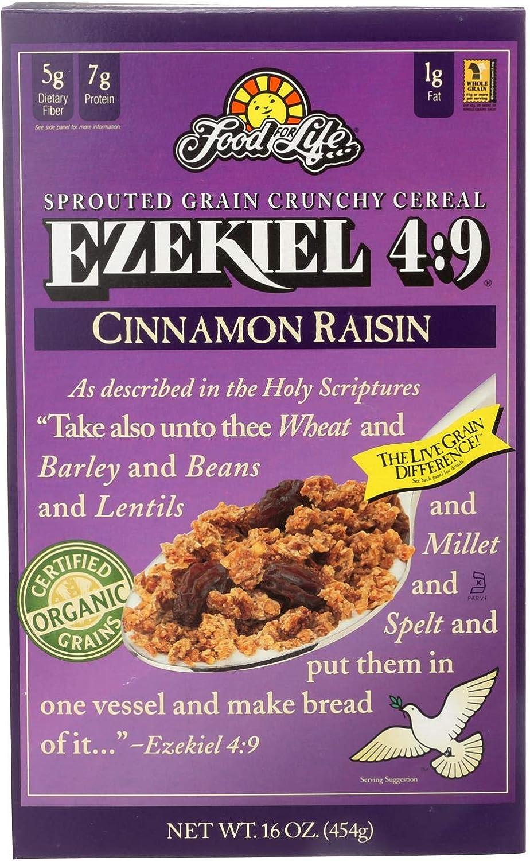 Food For Life Baking Co. Cereal - Organic - Ezekiel 4-9 - Sprouted Whole Grain - Cinnamon Raisin - 16 oz - case of 6 - 95%+ Organic - - Dairy Free - Yeast Free - -Vegan