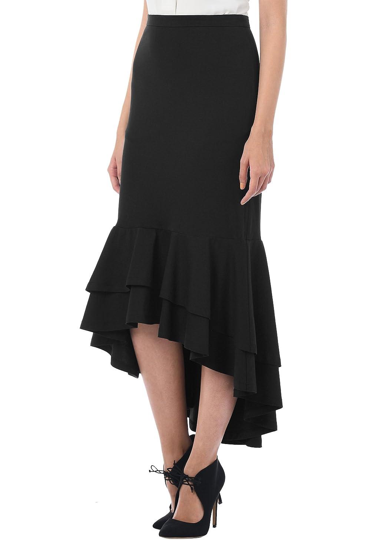 eShakti Women's Ruffle high-low hem cotton knit skirt UK Size 06 / Regular  height Black: Amazon.co.uk: Clothing
