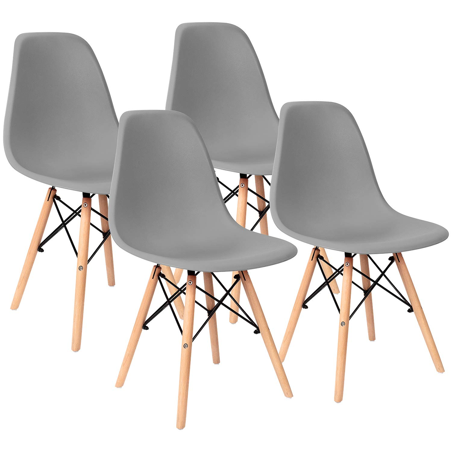 Furniwell Pre Assembled Modern Style Dining Chairs Mid Century Eiffel DSW Side Chair Indoor Armless Plastic Shell Chairs for Dining Room, Kitchen, Living Room, Bedroom Set of 4 (Gray)