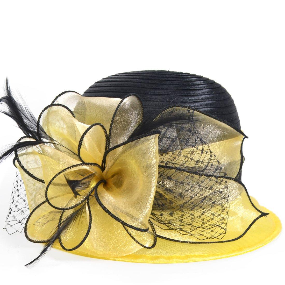 HISSHE Sweet Cute Cloche Oaks Church Dress Bowler Derby Wedding Hat Party S606-A, Yellow, Medium by HISSHE (Image #1)