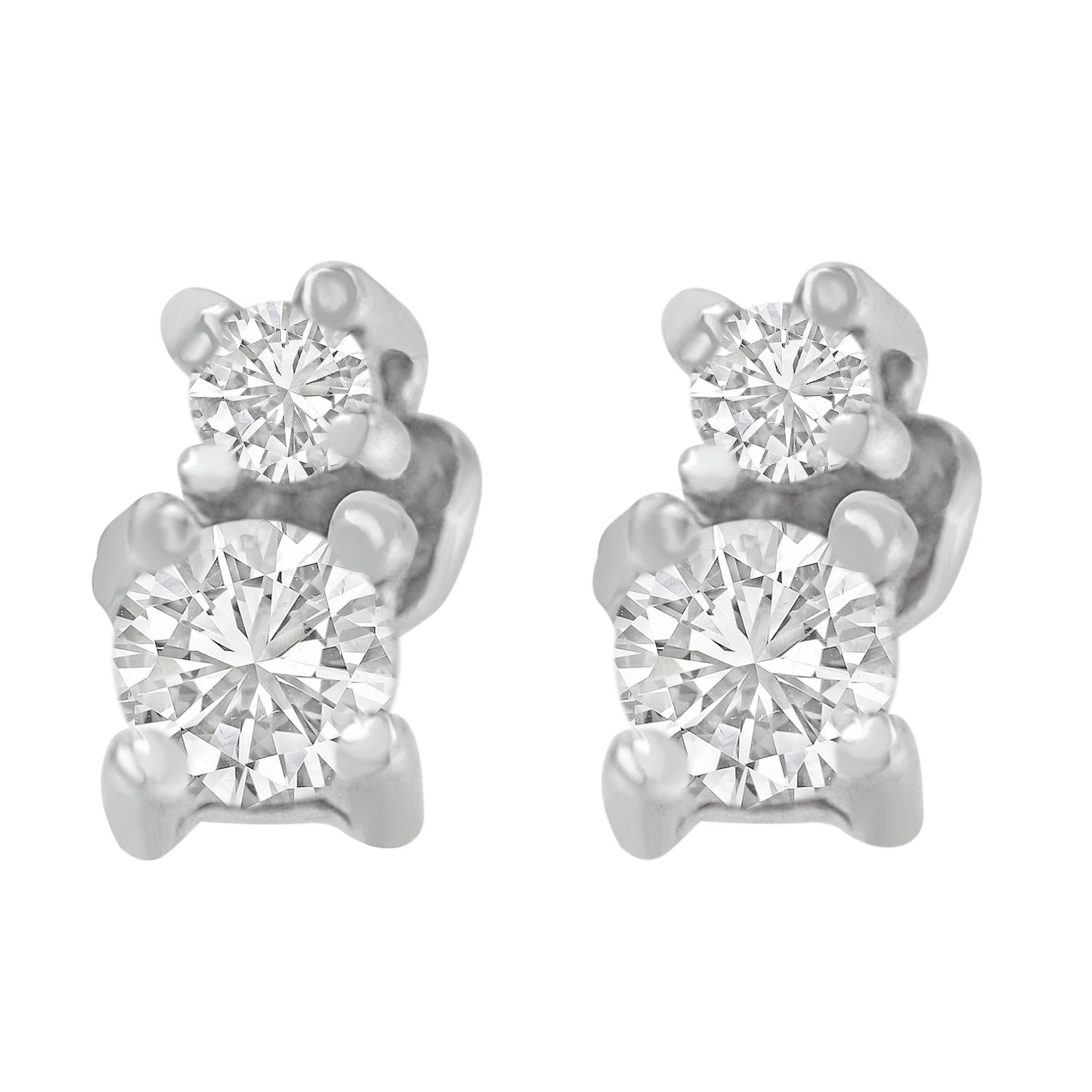 Amazon 14K White Gold Double Diamond Stud Earrings 0 25 cttw