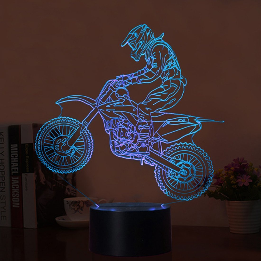 3D Led Illusion Table Lamp 7 Colors Change Night Light for Bedroom Home Decoration Wedding Birthday Christmas and Valentine Gift Artistic and Romantic Atmosphere Space Shuttle