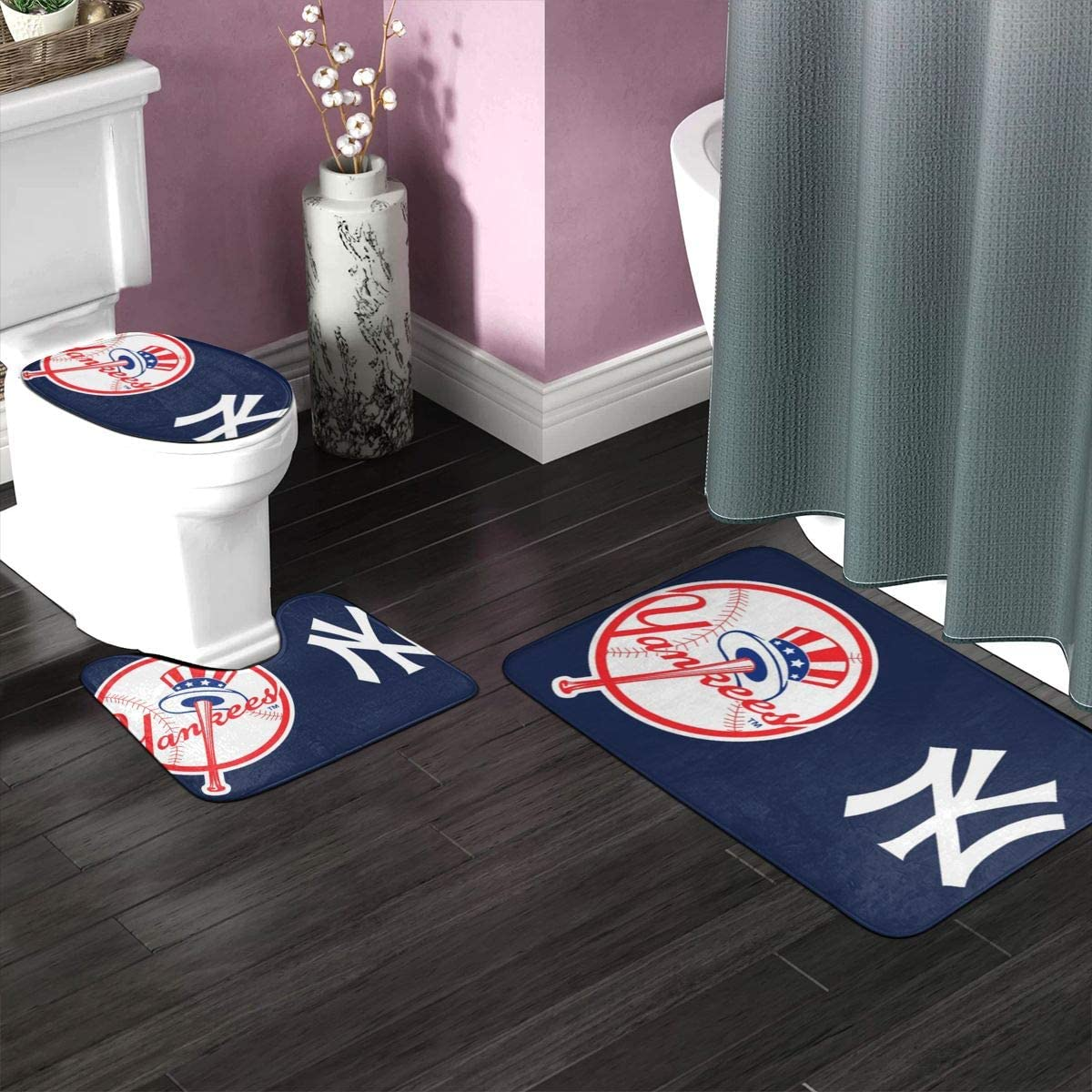 NY New York 3 Pieces Bathroom Rugs and Mats Sets Non Slip Water Absorbent Bath Rug Toilet Seat Lid Cover U-Shaped Toilet Mat Home Decor Bathroom Antiskid pad