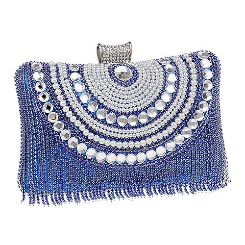 Luckywe Bolso de embrague Carteras de Mano Borla de diamantes De Cristal Billetera para Fiesta A41 Azul: Amazon.es: Zapatos y complementos