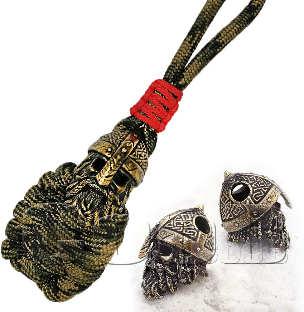 EDC Survival Paracord Keychain Pendant Strap Key Lanyard with Bead OWL by CooB