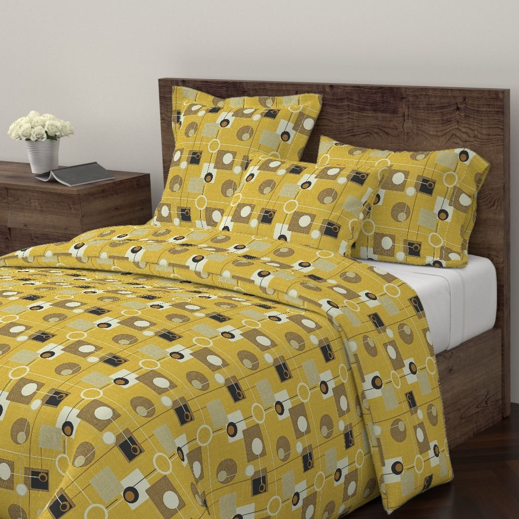 Atomic Duvet Cover Pois Fifties Eclectic Gold Vintage Abstract by Chicca Besso 100% Cotton Queen Duvet Cover