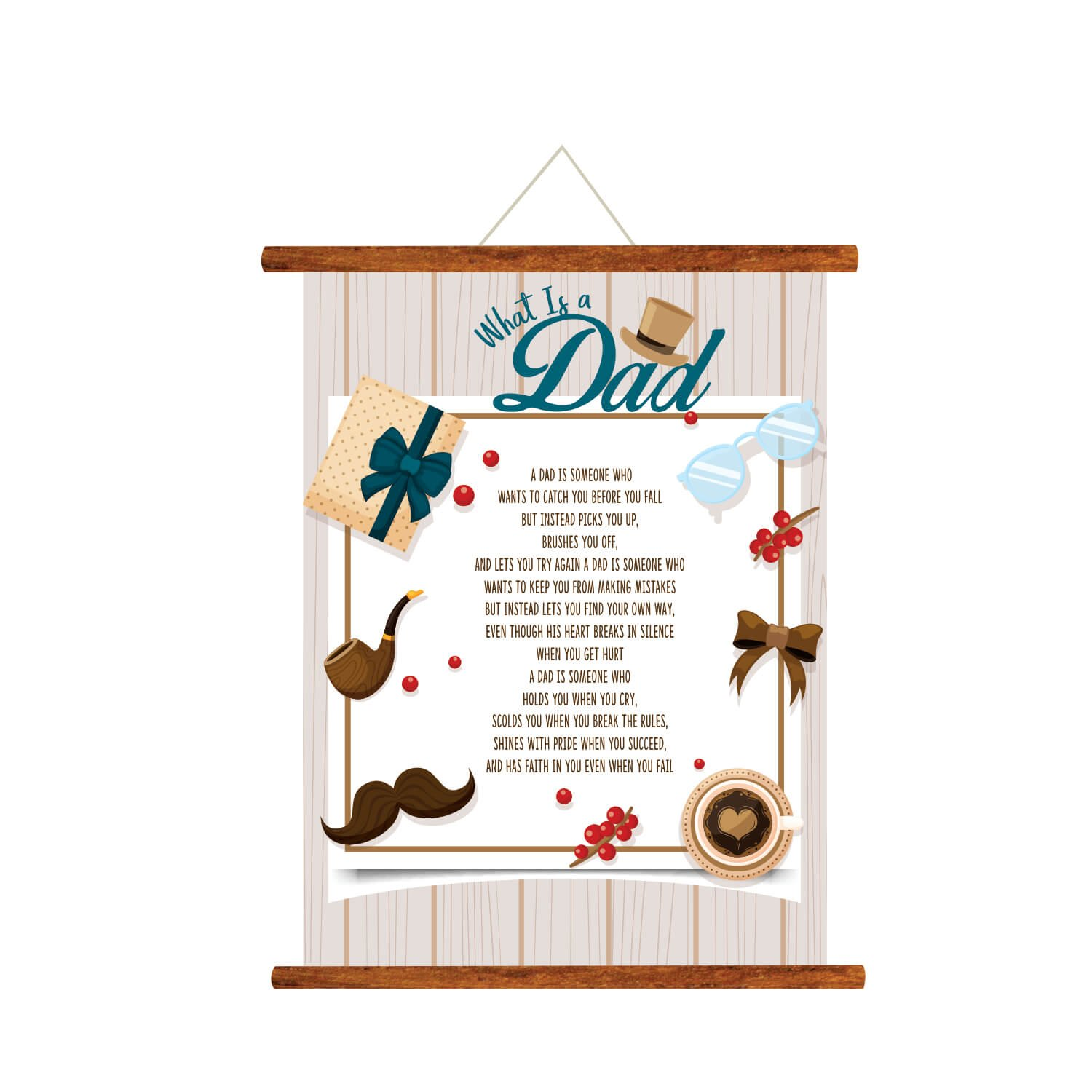 YaYa Cafe Fathers Day Greeting Cards Thanks For Your Faith Dad Message Scroll Card Wall Hanging Decor