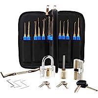 Lock Pick Set 34 Pcs Lock Picking Set Professional Lock Pick Kit Practice Lock Pick Tool Kit Transparent Locksmith Tool…