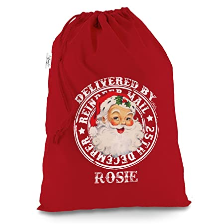 Personalised Christmas Eve Box Santa Sack Present Xmas Eve Bag Vintage