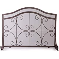 Crest Fireplace Screen, Solid Wrought Iron Frame with Metal Mesh, Decorative Scroll Design, Free Standing Spark Guard