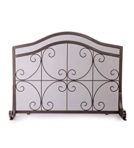 Plow & Hearth Small Crest Flat Guard Fireplace Screen, Solid Wrought Iron Frame with Metal Mesh, Decorative Scroll Design, Free Standing Spark Guard 38 W x 31 H x 13 D, Copper Finish