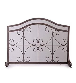 Small Crest Flat Guard Fireplace Screen, Solid Wrought Iron Frame With  Metal Mesh, Decorative