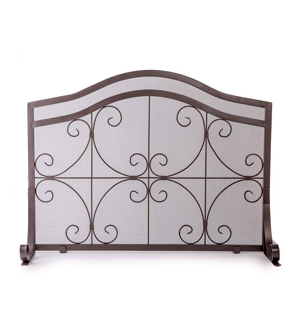 Small Crest Flat Guard Fireplace Screen, Solid Wrought Iron Frame with Metal Mesh, Decorative Scroll Design, Free Standing Spark Guard 38 W x 31 H x 13 D, Copper Finish