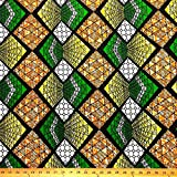 African Print Fabric Polygon Cotton Print 44'' wide Sold By The Yard (90104-2) offers