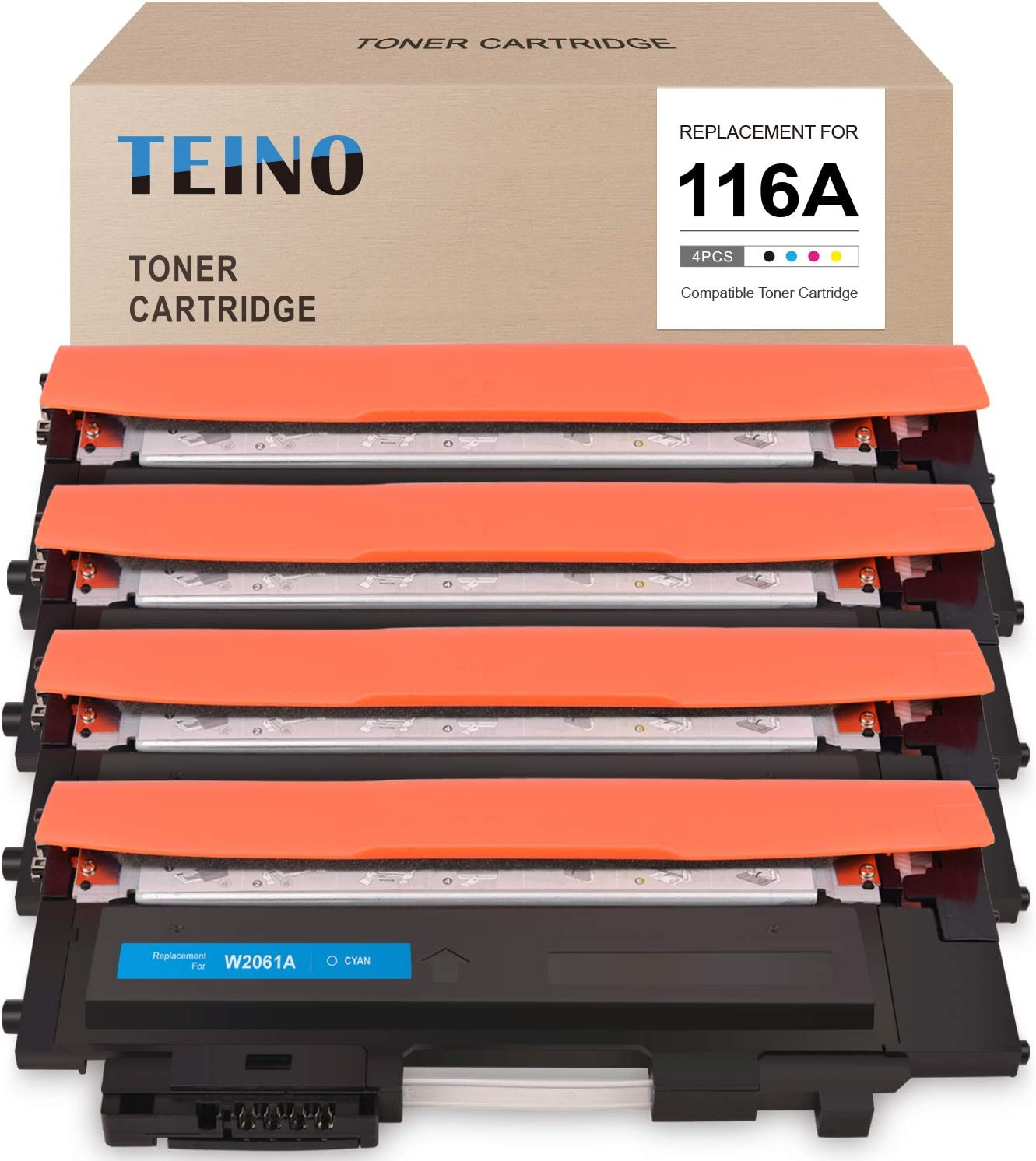 TEINO Compatible Toner Cartridge Replacement for HP 116A W2060A W2061A W2062A W2063A use with HP Color Laser MFP 178nw 179fnw Color Laser 150nw (Black, Cyan, Magenta, Yellow, 4-Pack)