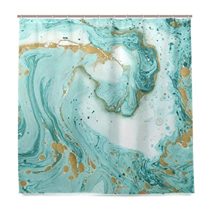 ALAZA Turquoise Gold Marble Shower Curtain Waterproof Polyester Bath Curtian With Hooks 72x72 Inch