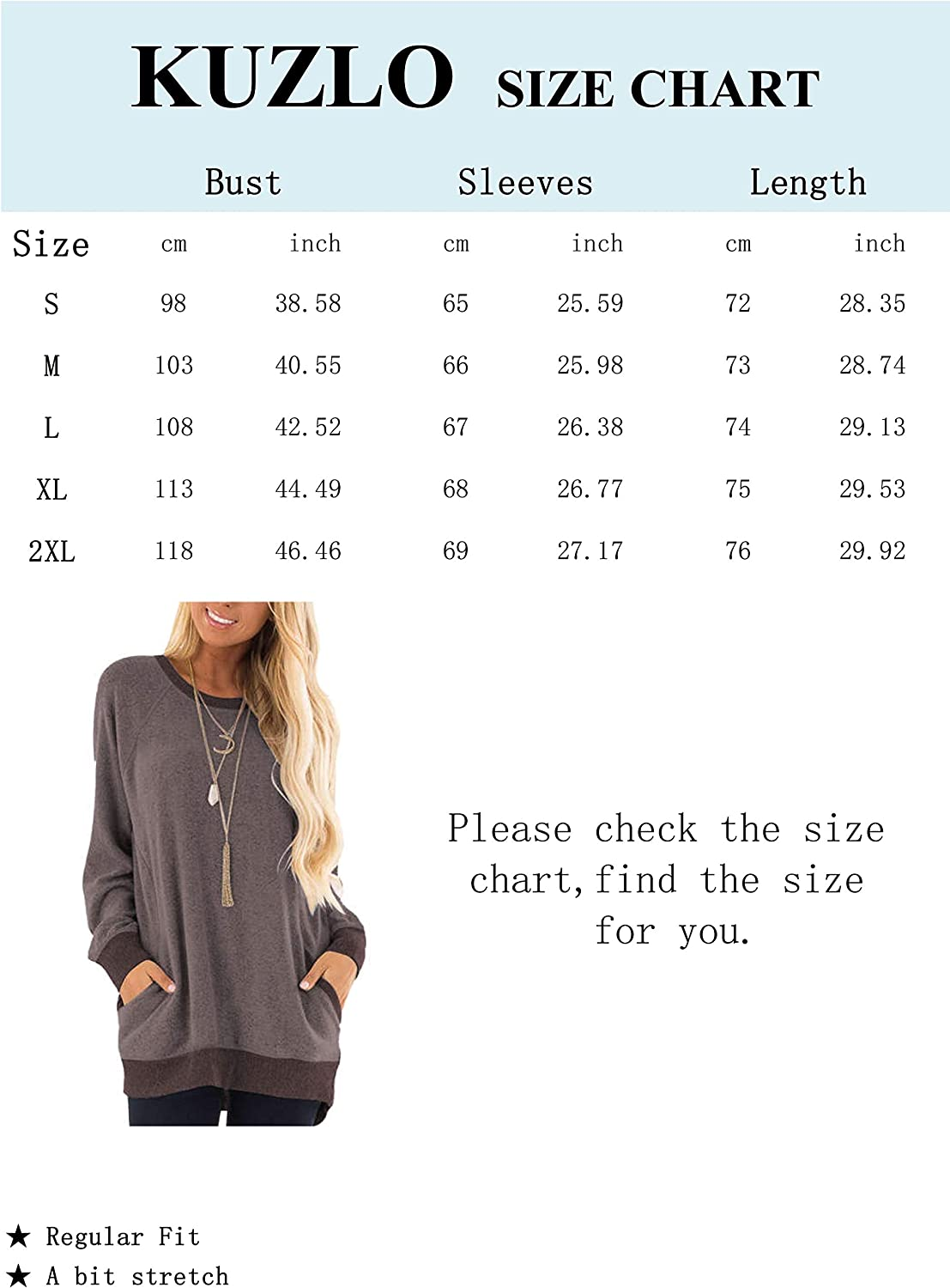 Kuzkauf Womens Long Sleeve Tops Round Neck Color Block Loose Casual Sweatshirts with Pockets