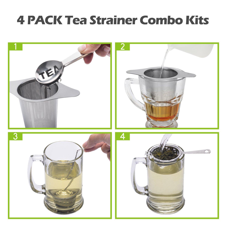 Best Tea Infuser for Loose Leaf Tea,4 PACK Tea Strainer Combo Kits Including-Double Handles Large Tea Steeper Small Cup infuser /& Metal Tea Scoop-FDA Approved. Single Long Handle Tea Filter