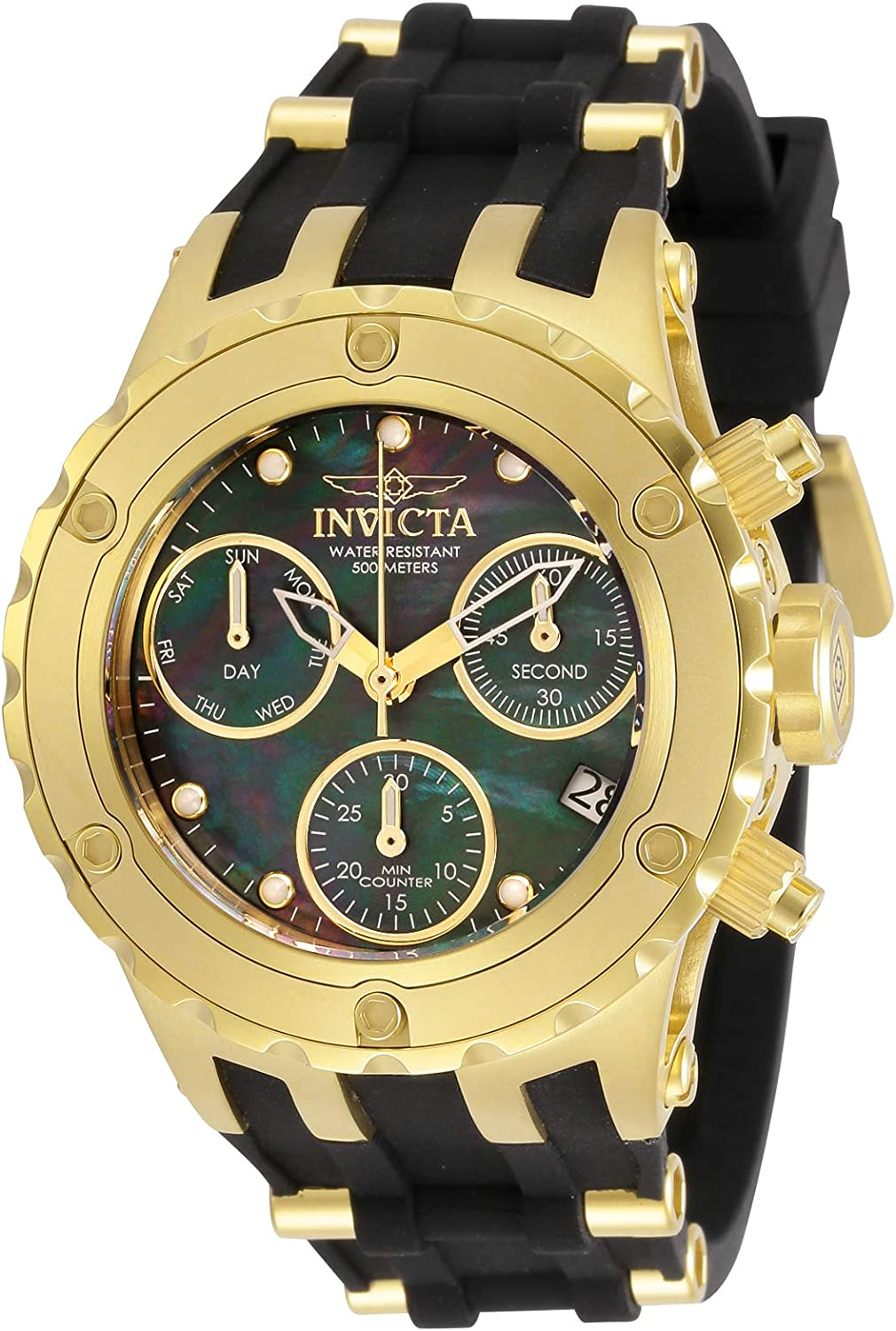 Invicta Women's Specialty Quartz Watch with Stainless Steel and Silicone Strap, Two (Black and Gold-Tone), 23.5 (Model: 30428)