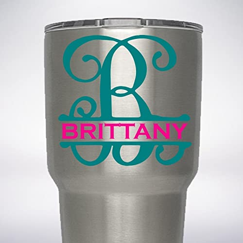 b695d7cbfff Image Unavailable. Image not available for. Color: Split Initial Monogram  Name Decal for 20oz 30oz 40oz Yeti RTIC Ozark Trail Bubba Tumbler Growler