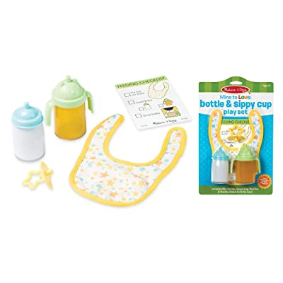 "Melissa & Doug Mine to Love Bottle & Sippy Cup Play Set – ""Disappearing"" Liquid, Bib, Pacifier, Activity Card, Great Gift for Girls and Boys - Best for 3, 4, 5, and 6 Year Olds: Toys & Games"