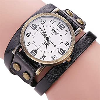 82c59545498 DOLDOA Unisex Vintage Faux Leather Bracelet Watch Men Women Quartz Wrist  Watches