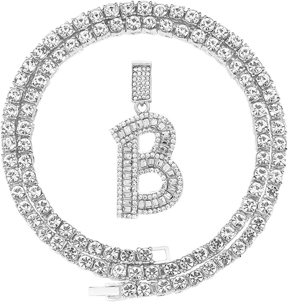 """FW Jewelry Men Women Iced Out Hip Hop Silver Gold Bling Cz Diamond Baguette Initial Letter Pendant Tennis Chain Necklaces A to Z 20"""""""