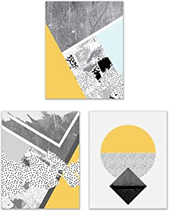 Mustard Yellow and Baby Blue Abstract Prints - Set of 3 (8x10 Inches) Glossy Polka Dots Black and White Texture Wall Art Decor