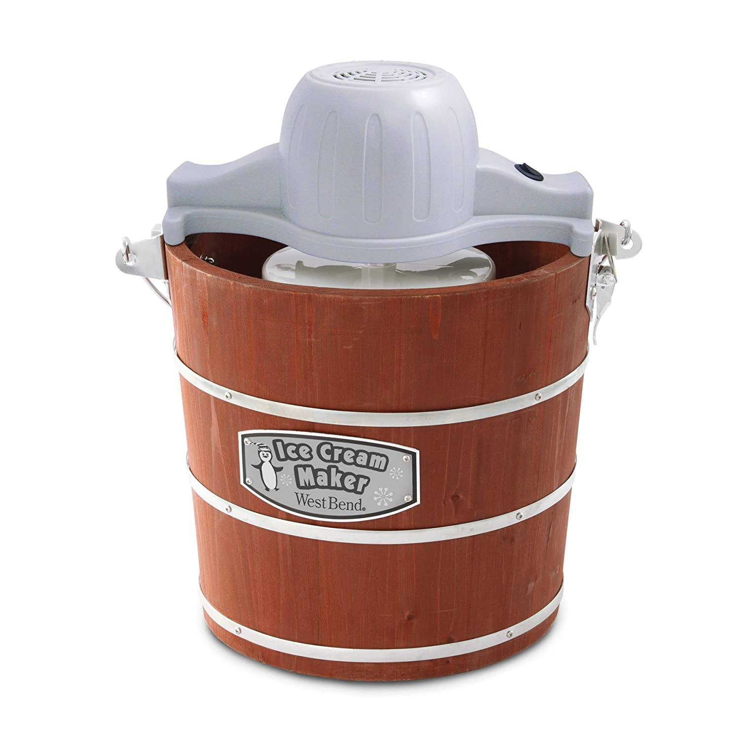 West Bend Wooden Ice Cream Maker, 4-Quart, Brown (Discontinued by Manufacturer)