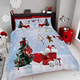 Alicemall Christmas Bedding Christmas Tree Red Socks Gifts Prins in Light Blue Stars 4 PCS Duvet Cover Set, Queen Size Bed Sheets Set (Queen, LightBlue Xmas)