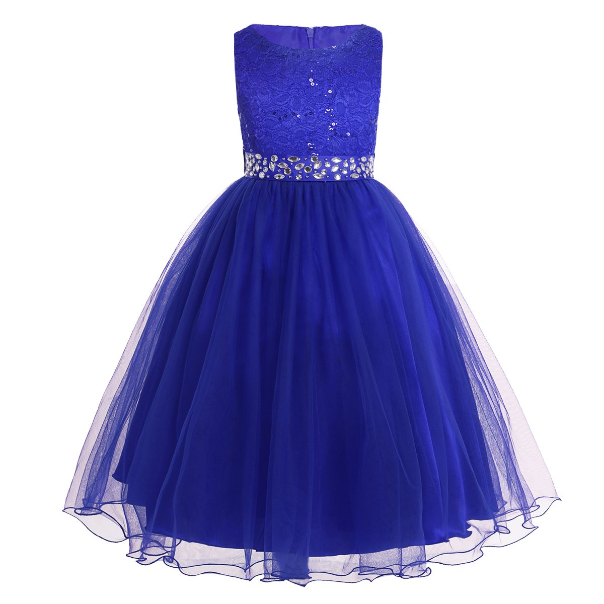 YiZYiF Kids Sequins Rhinestone Belt/Embroideried Communion Pageant Wedding Party Flower Girls Dresses Royal Blue 14