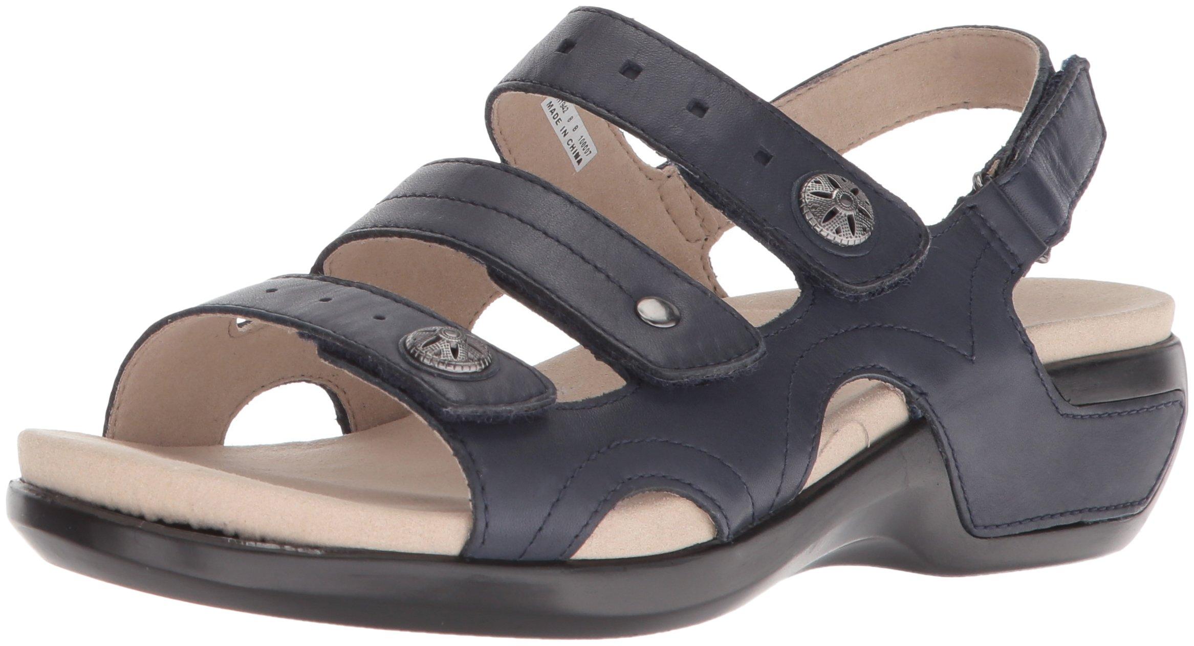 Aravon Women's Pc Three Strap Sandal, Navy Leather, 13 2E US by Aravon