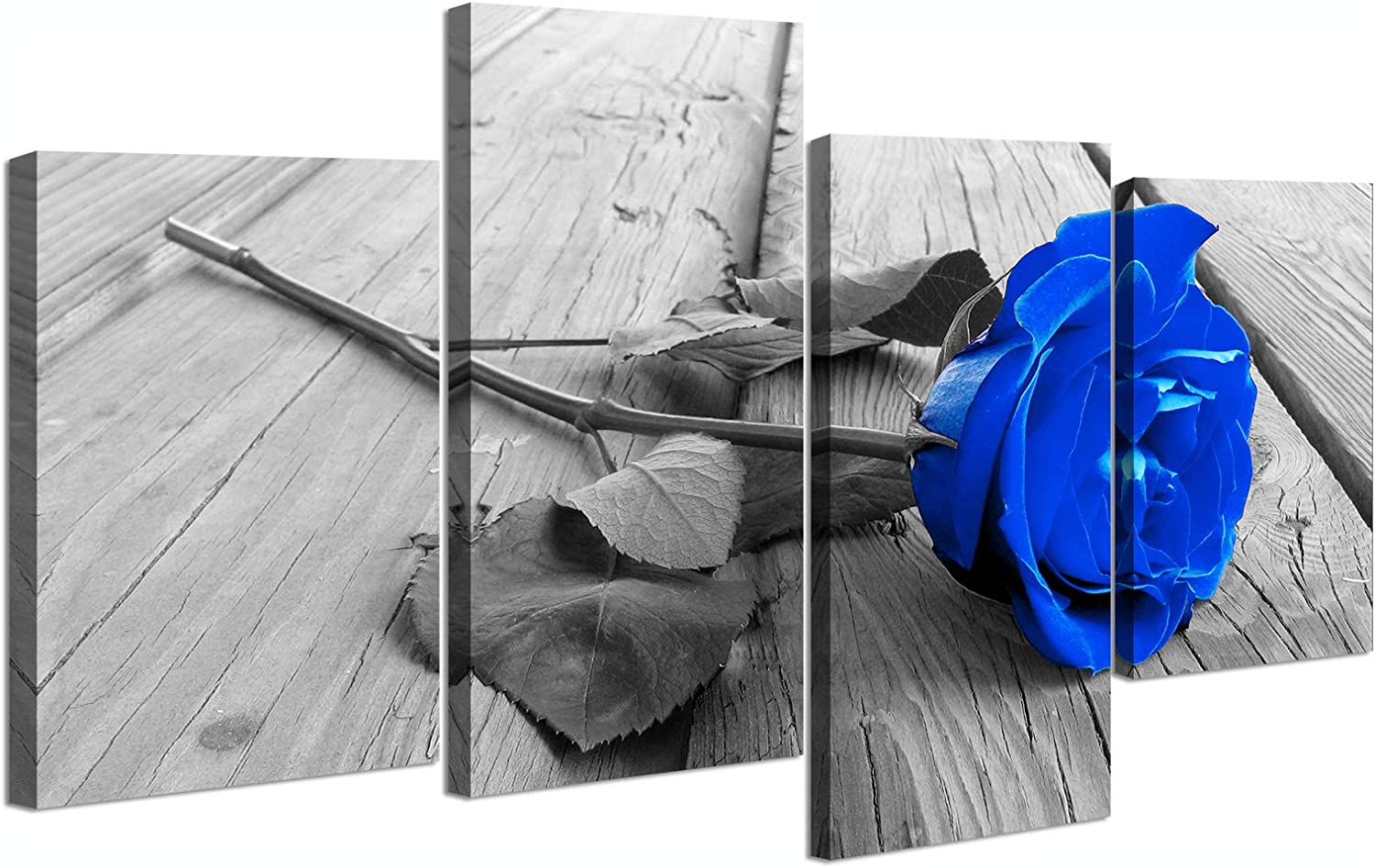 Royal Blue Rose Picture for Home Decor Canvas Wall Art Flower Posters Paintings Valentine Day Couple Gifts Modern Rustic Farmhouse Decorations Stretched and Framed 4 Piece