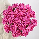 Künstliche Rosen von Justoyou, 10 Stück Kunstblumen, für Brautstrauß, Zuhause, Party, Büro, Geschäft, Dekoration, Textil, rosarot, 10 Stück