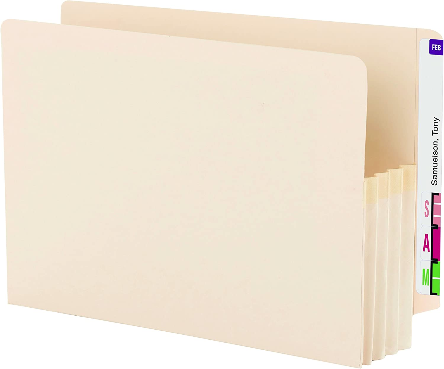 "Smead End Tab File Pocket, Reinforced Straight-Cut Tab, 3-1/2"" Expansion, Legal Size, Manila, 25 per Box (76124)"