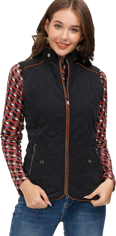 KANCY KOLE Women's Padded Vest Stand Collar Lightweight Zip Pockets Quilted Gilet Reversible