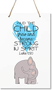 """LifeSong Milestones Elephant Wall Decor Decorations Signs for Kids, Bedroom, Nursery, Hallways, Baby's Boys and Girls Room, Toddlers Size 8"""" x 12"""" Proudly Made in USA (and The Child Grew White)"""