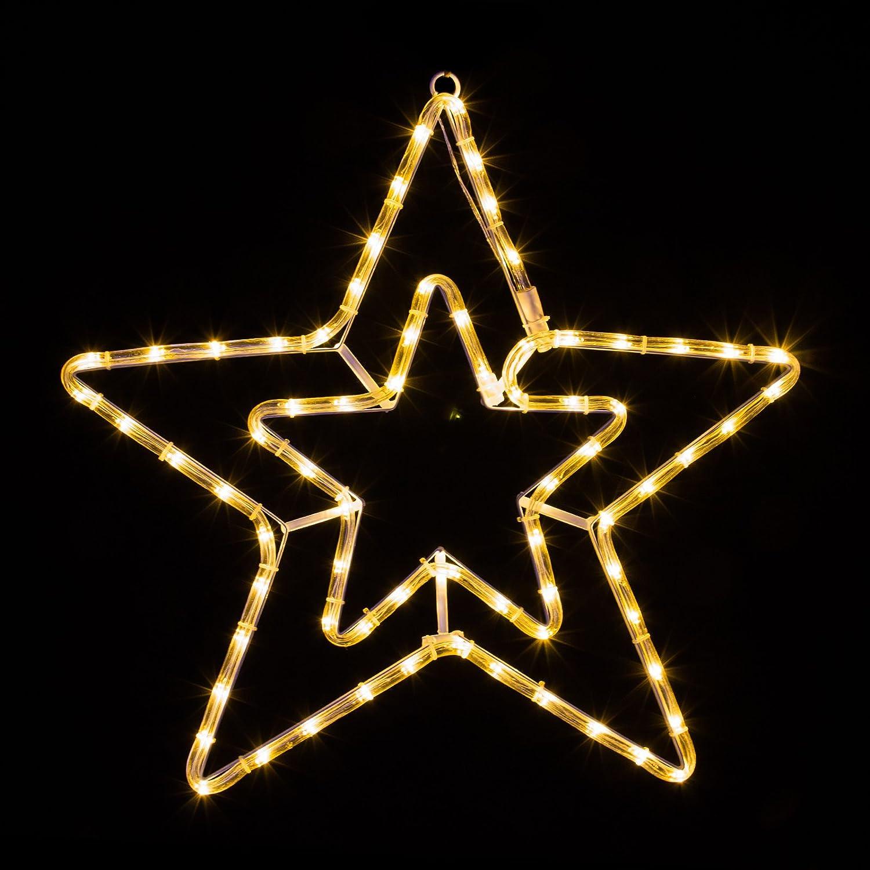 LED Stern mit 72 LEDs leuchtet wahlweise warmwei/ß oder wei/ß 8 schaltbare Progr.