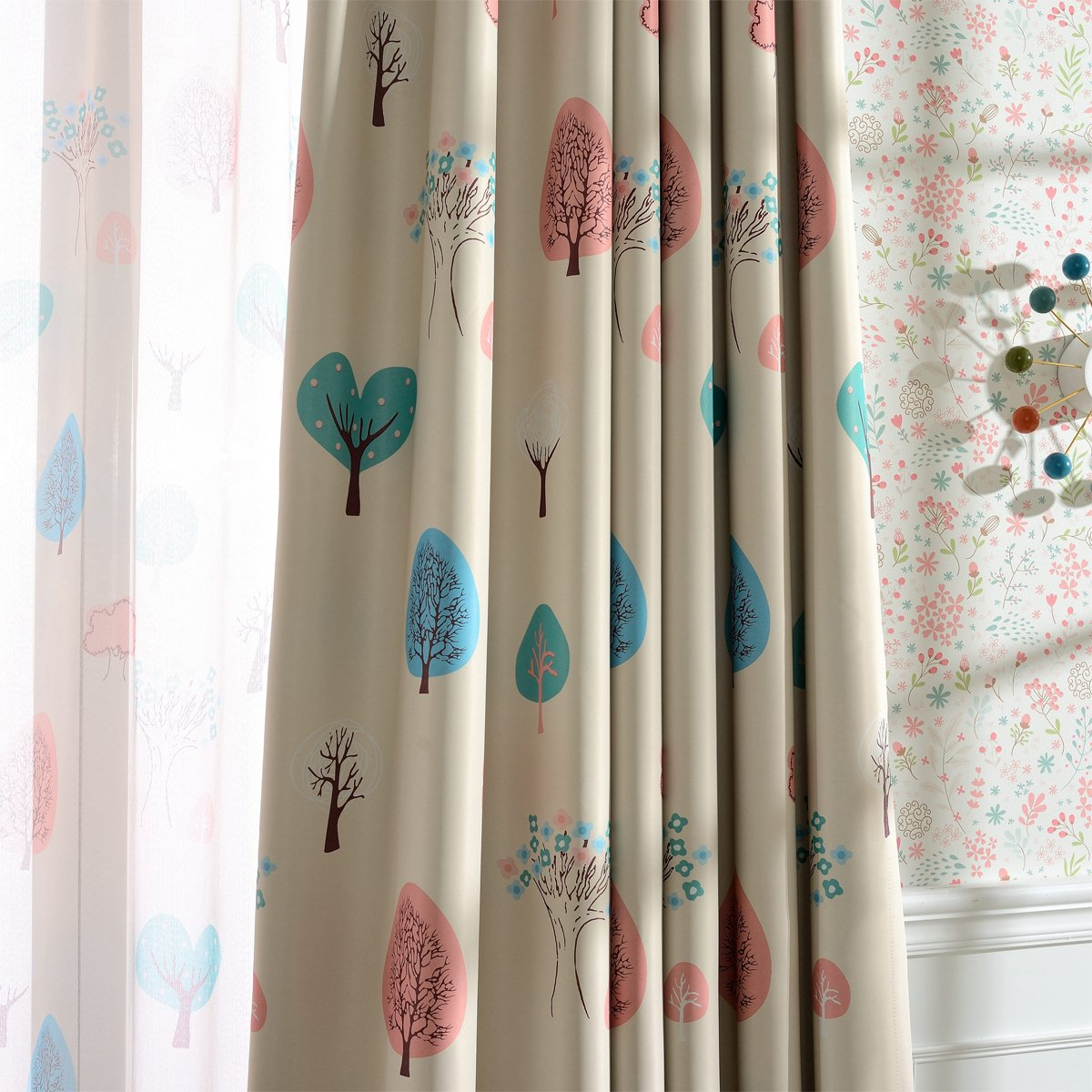 """Melodieux Cartoon Trees Room Darkening Blackout Grommet Top Curtains/Drapes for Kids Room, 52"""" W x 63"""" L (1 Panel)"""