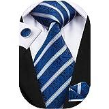 Hi-Tie Mens Necktie and Pocket Square Cufflinks Set