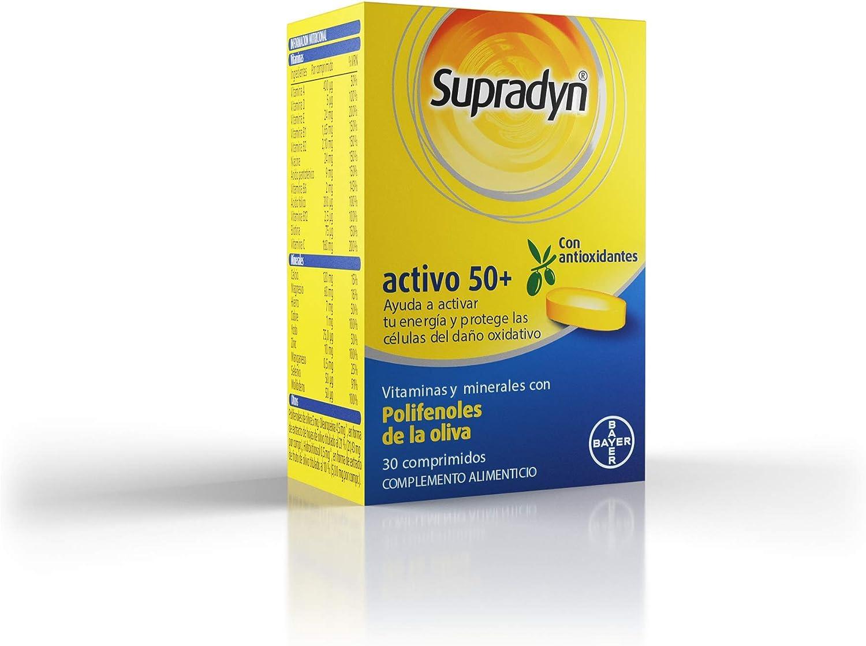 Supradyn Activo 50+, Complejo Vitamínico con Antioxidantes para Mayores de 50, 2 Vitaminas, 9 Minerales y Polifenoles de la Oliva, Energía con Efecto ...