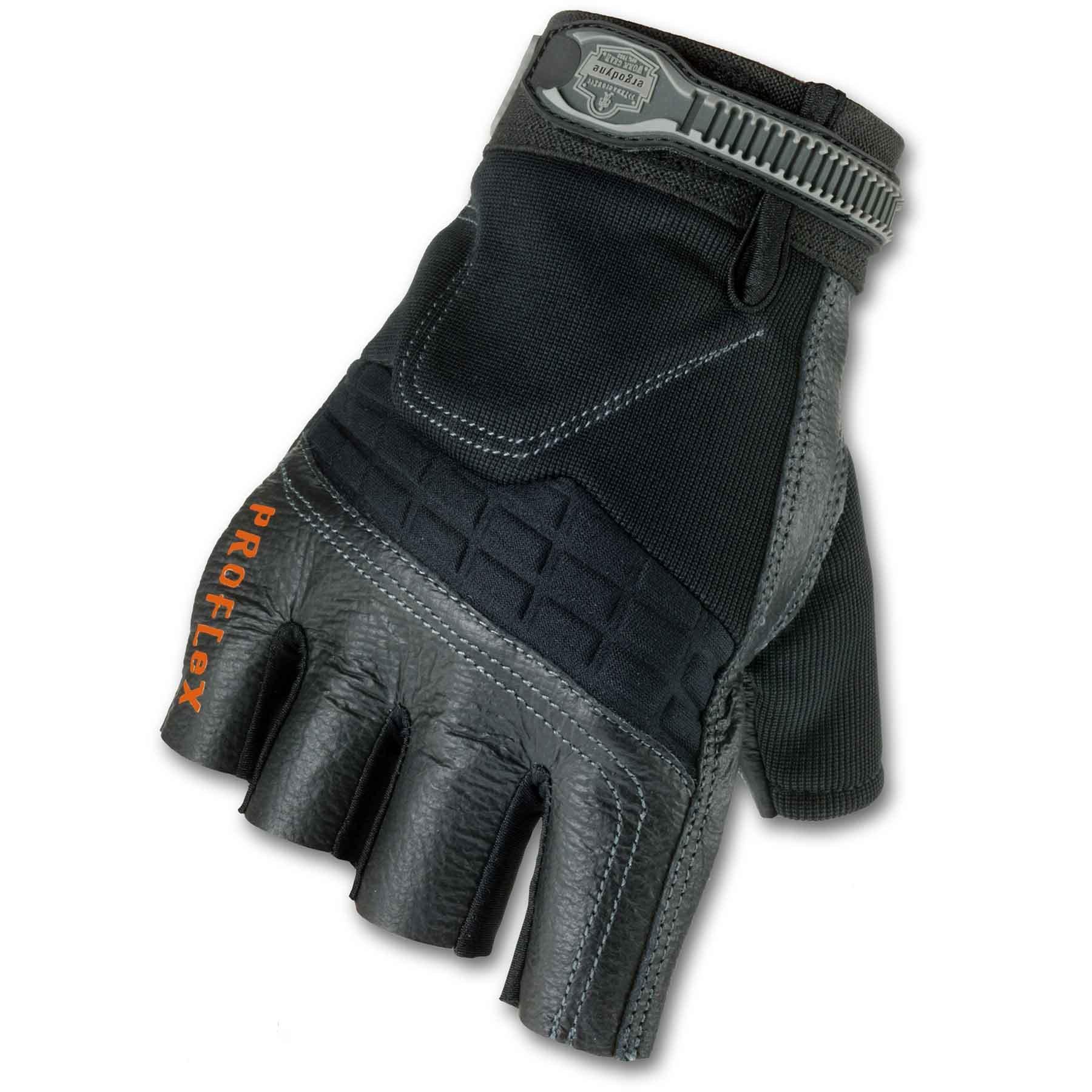 Ergodyne ProFlex 900 Impact-Reducing Half-Fingered Work Gloves, Small
