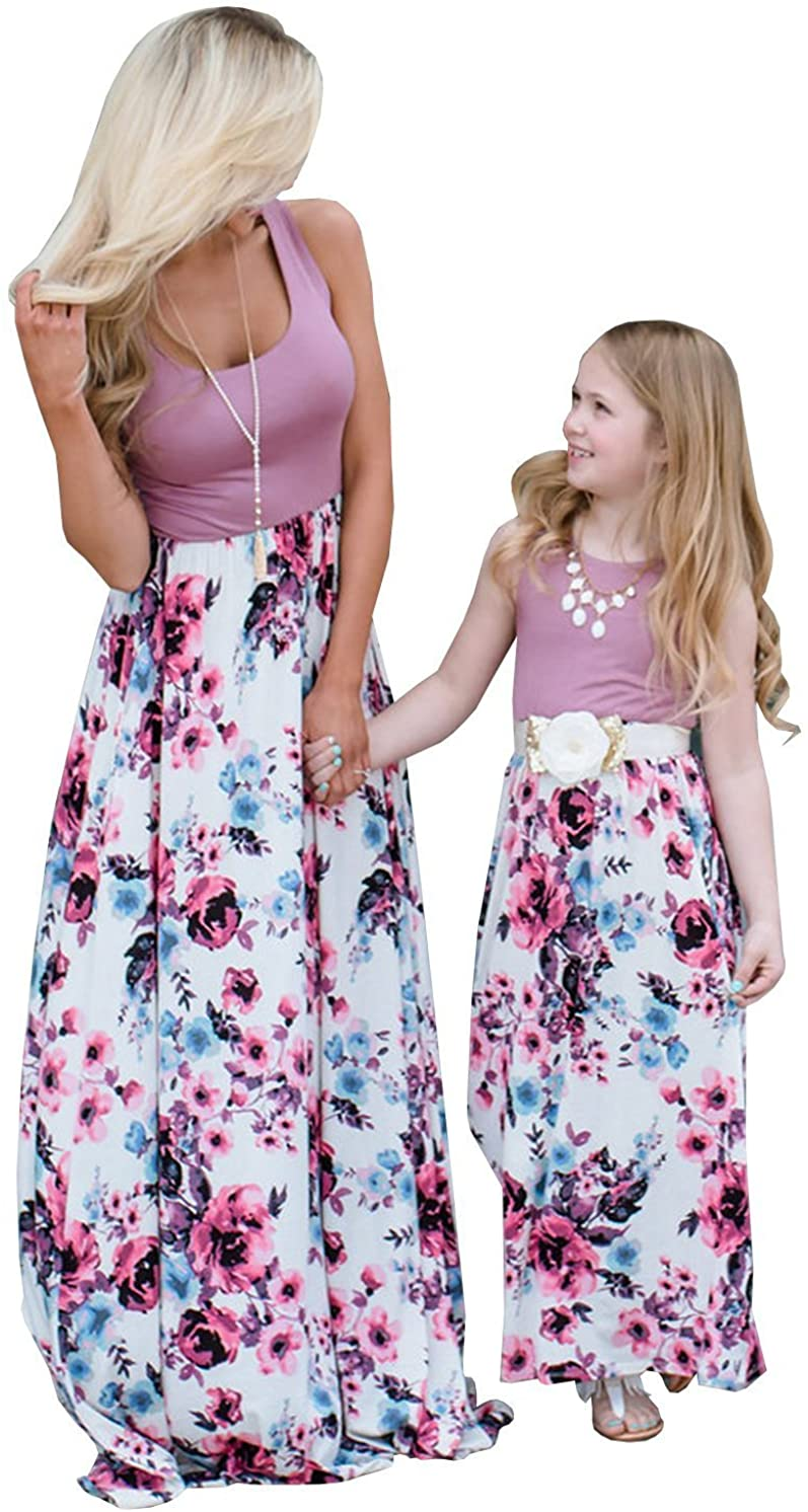 July 4th American Flag Mother Daughter Matching Cloth Women Kids Long Maxi Dress