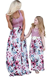 d03c5c3d73a3f6 Mommy and Me Dresses Casual Floral Family Outfits Summer Matching Maxi Dress