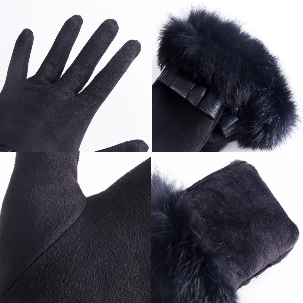 Womens Winter Warm TouchScreen deerskin Texting Driving Lined Thick gloves Rabbit Fur Black by Dsane