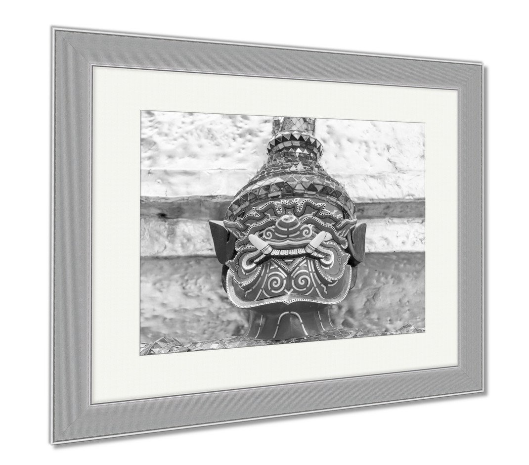 Ashley Framed Prints Old Faithful Close Up Thai Giant Statue Golden Pagodat Grand, Wall Art Home Decoration, Black/White, 34x40 (frame size), Silver Frame, AG5593660